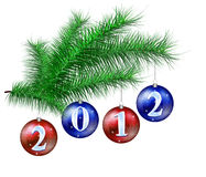 Christmas balls on the Christmas tree. Number 2012 in celebration balloons decorating the Christmas tree Stock Images