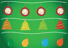 Christmas balls,christmas tree and balloons Royalty Free Stock Images