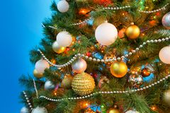 Christmas balls on the Christmas tree. Beautiful Christmas balls on the Christmas tree stock photos