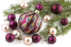 Christmas balls and Christmas tree with decorations. Christmas decorations with christmas baubles Royalty Free Stock Photo