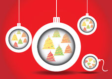 Christmas balls christmas tree. In site vector on red vector illustration