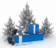 Christmas balls, christmas trees and gift boxes Stock Photo