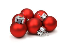 Christmas balls (clipping path included). Red christmas balls over white background with clipping path Stock Photo