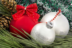 Christmas balls closeup. New year decoration. Stock Images