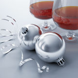 Christmas balls and cognac Stock Images