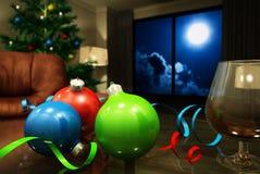 Christmas balls and cognac Stock Image