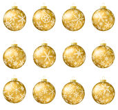 Christmas balls collection. Set of gold vector Christmas balls with snowflakes ornament Royalty Free Stock Photography