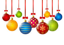 Christmas balls collection on white Stock Photo