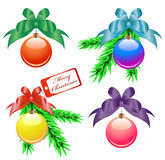 Christmas balls with color bows Stock Photography