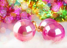 Christmas balls on colorful background Royalty Free Stock Photo