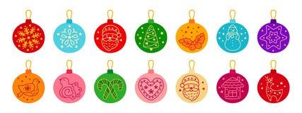Free Christmas Balls Colorful Flat Cartoon Set Vector Royalty Free Stock Photo - 185271055