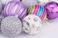 Christmas balls. Christmas colorful balls on gray background Stock Images