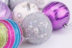 Christmas balls. Christmas colorful balls on gray background Stock Image