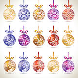 Christmas balls colorful hanging big set on tape for christmas t. Ree decoration. New year balls collection to styling website. Kit of snowflakes on balls Royalty Free Stock Photos
