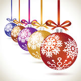 Christmas balls colorful hanging set on tape for christmas tree. Decoration. New year balls collection to styling website. Kit of snowflakes on balls Stock Image