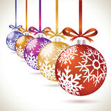 Christmas balls colorful hanging set on tape for christmas tree. Decoration. New year balls collection to styling website. Kit of snowflakes on balls Stock Images
