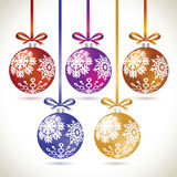 Christmas balls colorful hanging set on tape for christmas tree. Decoration. New year balls collection to styling website. Kit of snowflakes on balls Stock Photo