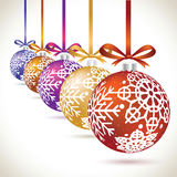 Christmas balls colorful hanging set on tape for christmas tree. Decoration. New year balls collection to styling website. Kit of snowflakes on balls Stock Photography