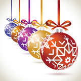Christmas balls colorful hanging set on tape for christmas tree Royalty Free Stock Photo