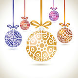 Christmas balls colorful hanging set on tape for christmas tree. Decoration. New year balls collection to styling website. Kit of snowflakes on balls Royalty Free Stock Photo