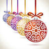 Christmas balls colorful hanging set on tape for christmas tree. Decoration. New year balls collection to styling website. Kit of snowflakes on balls Stock Photos