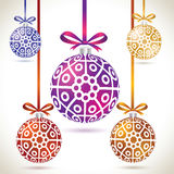 Christmas balls colorful hanging set on tape for christmas tree Stock Image