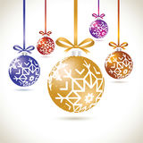 Christmas balls colorful hanging set on tape for christmas tree Stock Photo