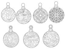 Free Christmas Balls Coloring Vector For Adults Stock Photo - 84591830