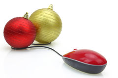 Christmas Balls and computer mouse Royalty Free Stock Photo