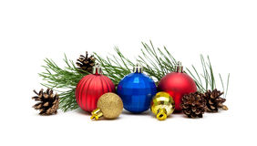 Christmas balls, cones and pine branches on a white background. Horizontal photo Royalty Free Stock Photos