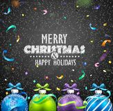 Christmas balls and confetti Stock Photos