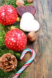 Christmas balls, cookies and nuts. Royalty Free Stock Photography
