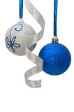 Christmas balls with curly silver ribbon Royalty Free Stock Photos