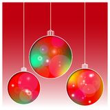 Christmas balls cut the paper. Bright abstract glowing background. Greeting card, invitation. Vector illustration. Eps10 Stock Photography