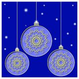 Christmas balls cut the paper. Mandala snowflake in the ball. Background starry sky. Greeting card, invitation. Vector illustratio Stock Photos