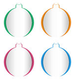 Christmas balls cutout on different backgrounds on white. Christmas balls cutout on different backgrounds isolated on white Royalty Free Stock Images
