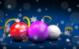 Christmas balls on dark blue background Royalty Free Stock Images