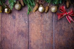 Christmas balls decor on old wood background Royalty Free Stock Photography