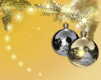 Christmas balls decorated in gold and silver Stock Images