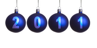 Christmas balls decoration. 2011 year. Isolated Royalty Free Stock Photography