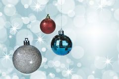 Christmas balls decoration on abstract bokeh background. royalty free stock image