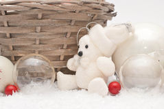 Christmas. Balls, decoration and basket Stock Photo