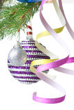 Christmas balls and decoration on fir tree branch Stock Image