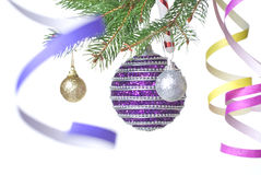Christmas balls and decoration on fir tree branch Royalty Free Stock Image