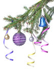Christmas balls and decoration on fir tree branch Stock Photography