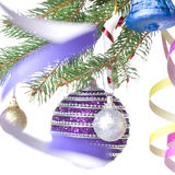 Christmas balls and decoration on fir tree branch Royalty Free Stock Photos