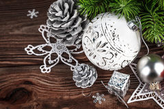 Christmas balls with decoration and firtree Stock Photography