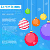 Christmas Balls Decoration Greeting Card Happy New stock illustration