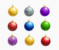 Christmas balls decoration icon set Royalty Free Stock Images