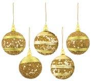 Christmas Balls Decoration, New Year Hanging Ball, Xmas Decor. Christmas Balls Decoration, New Year Hanging Ball, Gold Xmas Decor Isolated over White Background Stock Photography
